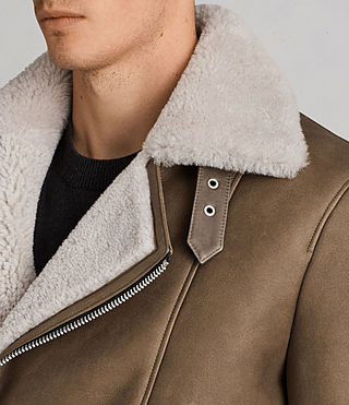 Men's Bronx Shearling Biker Jacket (Khaki Green) - Image 2