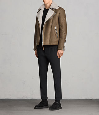Men's Bronx Shearling Biker Jacket (Khaki Green) - Image 3