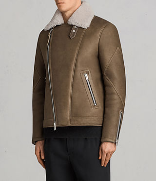 Men's Bronx Shearling Biker Jacket (Khaki Green) - Image 5