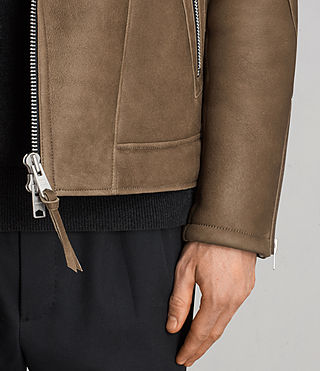Men's Bronx Shearling Biker Jacket (Khaki Green) - Image 7