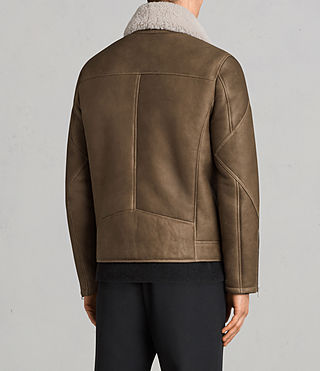 Men's Bronx Shearling Biker Jacket (Khaki Green) - Image 8