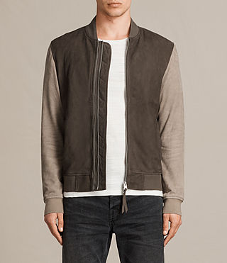 Mens Tally Suede Bomber Jacket (ARMY GREY/SAND) - product_image_alt_text_1