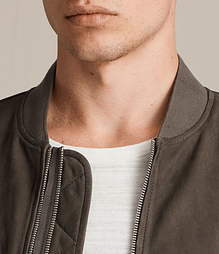 Men's Tally Leather Bomber Jacket (ARMY GREY/SHALE) - Image 2