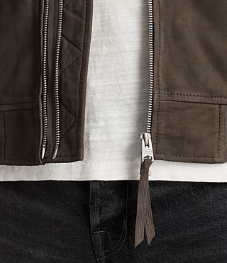 Men's Tally Leather Bomber Jacket (ARMY GREY/SHALE) - Image 4