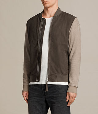 Men's Tally Leather Bomber Jacket (ARMY GREY/SHALE) - Image 5
