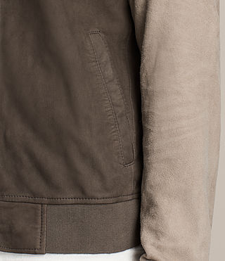 Men's Tally Leather Bomber Jacket (ARMY GREY/SHALE) - Image 6