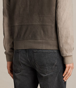 Men's Tally Leather Bomber Jacket (ARMY GREY/SHALE) - Image 7