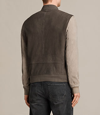 Men's Tally Leather Bomber Jacket (ARMY GREY/SHALE) - Image 8