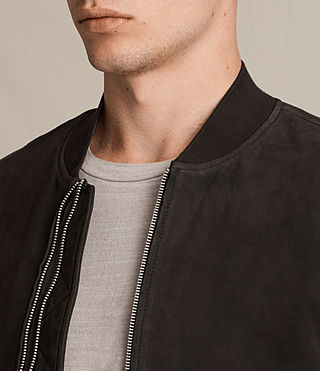 Mens Tally Leather Bomber Jacket (Black) - Image 2