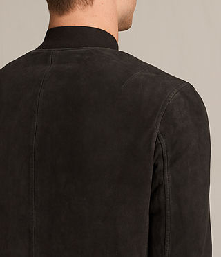 Mens Tally Leather Bomber Jacket (Black) - Image 6