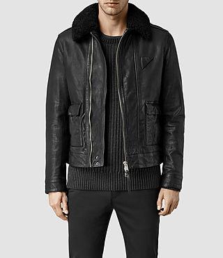 Mens Gate Leather Biker Jacket (Black)