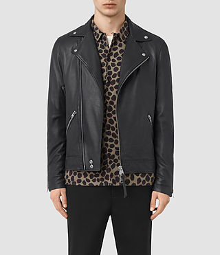 Hombre Odell Leather Biker Jacket (INK NAVY)