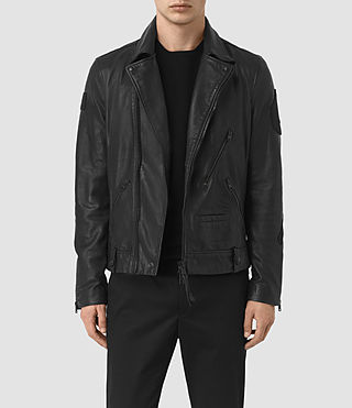 Hombre Vyce Leather Biker Jacket (Black)