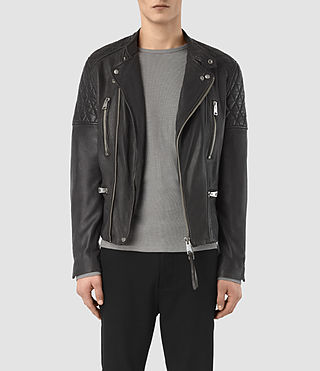 Hombres Slade Leather Biker Jacket (ANTHRACITE GREY)