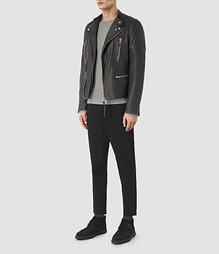 Hombre Slade Leather Biker Jacket (ANTHRACITE GREY) - product_image_alt_text_2
