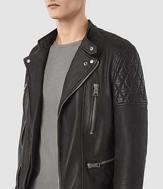 Hombre Slade Leather Biker Jacket (ANTHRACITE GREY) - product_image_alt_text_3