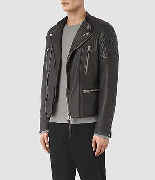 Hombre Slade Leather Biker Jacket (ANTHRACITE GREY) - product_image_alt_text_4