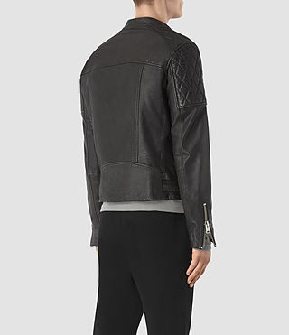 Hombre Slade Leather Biker Jacket (ANTHRACITE GREY) - product_image_alt_text_5