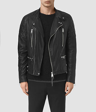 Hombre Slade Leather Biker Jacket (Black)