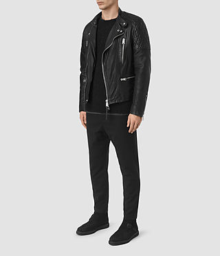 Mens Slade Leather Biker Jacket (Black) - product_image_alt_text_2