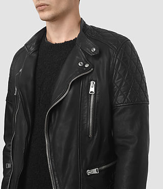 Mens Slade Leather Biker Jacket (Black) - product_image_alt_text_3