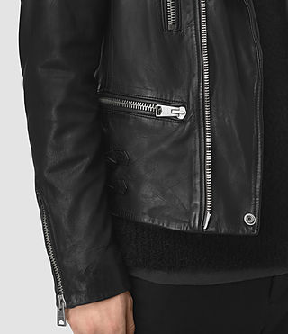 Mens Slade Leather Biker Jacket (Black) - product_image_alt_text_4