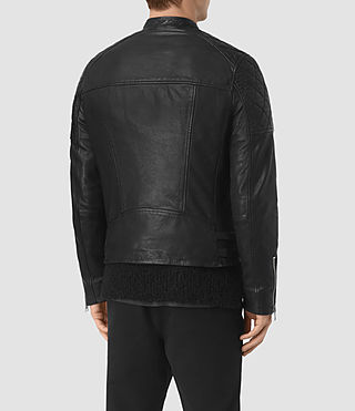 Mens Slade Leather Biker Jacket (Black) - product_image_alt_text_5