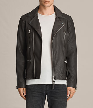 Hommes Dario Leather Biker Jacket (ANTHRACITE GREY) -