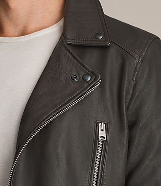 Men's Dario Leather Biker Jacket (ANTHRACITE GREY) - product_image_alt_text_2