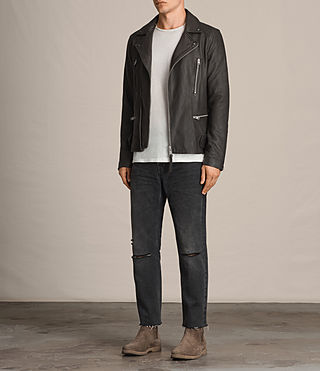 Men's Dario Leather Biker Jacket (ANTHRACITE GREY) - product_image_alt_text_3