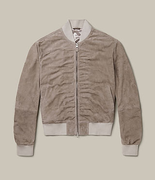 Men's Ari Suede Bomber Jacket (Light Khaki) -
