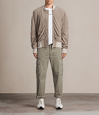 Men's Ari Suede Bomber Jacket (Light Khaki) - product_image_alt_text_2