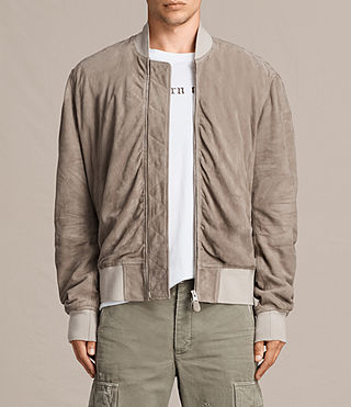 Men's Ari Suede Bomber Jacket (Light Khaki) - product_image_alt_text_3