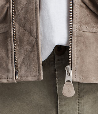 Men's Ari Suede Bomber Jacket (Light Khaki) - product_image_alt_text_4