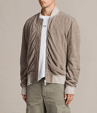 Men's Ari Suede Bomber Jacket (Light Khaki) - product_image_alt_text_5