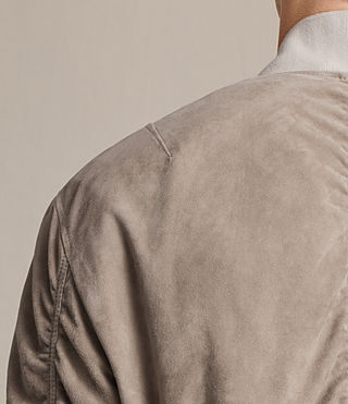 Men's Ari Suede Bomber Jacket (Light Khaki) - product_image_alt_text_6