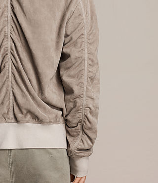 Men's Ari Suede Bomber Jacket (Light Khaki) - product_image_alt_text_7
