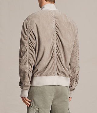 Men's Ari Suede Bomber Jacket (Light Khaki) - product_image_alt_text_8