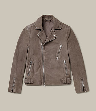 Mens Ellis Leather Biker Jacket (Chrome) - Image 1