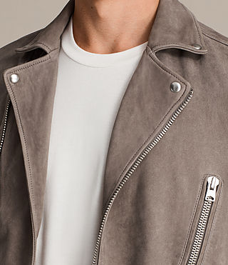 Mens Ellis Leather Biker Jacket (Chrome) - Image 7
