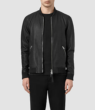 Hombre Zeno Leather Bomber Jacket (Black)