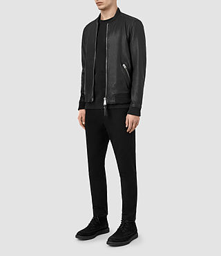 Men's Zeno Leather Bomber Jacket (Black) - product_image_alt_text_2