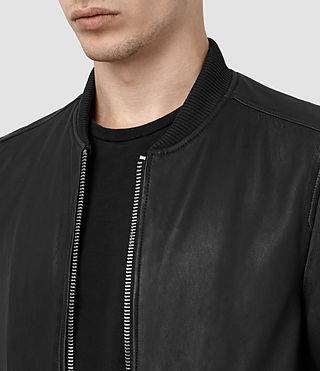 Mens Zeno Leather Bomber Jacket (Black) - product_image_alt_text_3
