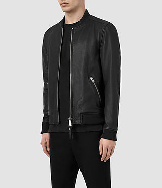 Mens Zeno Leather Bomber Jacket (Black) - product_image_alt_text_4