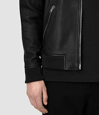 Men's Zeno Leather Bomber Jacket (Black) - product_image_alt_text_5