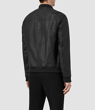 Men's Zeno Leather Bomber Jacket (Black) - product_image_alt_text_6