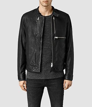Mens Howard Leather Biker Jacket (Black)