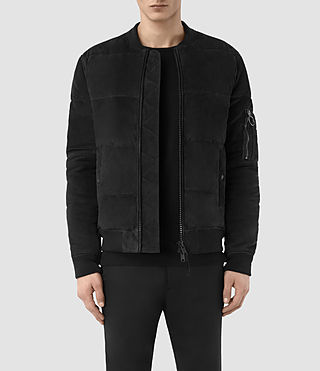 Hombres State Suede Puffer Jacket (Washed Black)