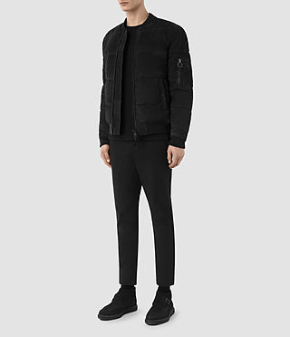 Mens State Suede Puffer Jacket (Washed Black) - product_image_alt_text_2