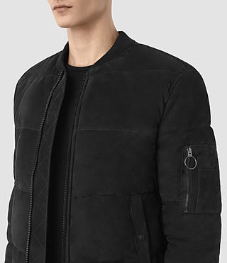 Mens State Suede Puffer Jacket (Washed Black) - product_image_alt_text_3